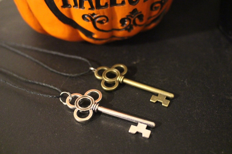 Silver and Bronze Key Pendant Necklaces