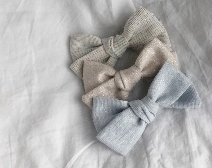 Dandelion>> SORBET // Linen with shimmer // Linen hair bows // shimmer hair bows // school girl bows // hand tied hair bows