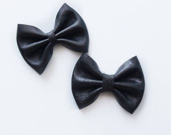 Daffodil>> genuine Italian black leather hair bows // modern hair bow // leather hair bow // black leather hair bow // newborn headbands