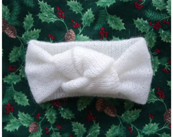 Light wool and angora blend headband // wool topknot headband // wool headband