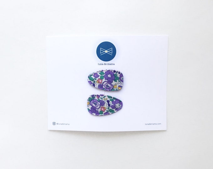 Snap Clips>> MINI // Liberty of London // Floral print // mini snap clips // newborn friendly // baby snap clips