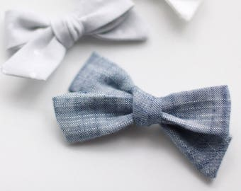 Dandelion>> chambray fabric hair bow // modern hair bow // simple hair bow // newborn headbands