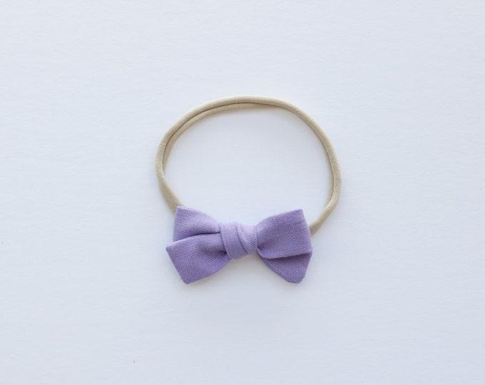 Lilac purple linen hair bows // linen hair bows // pastel hair bows // purple hair bows // summer hair bows //
