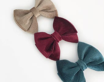 Magnolia>> corduroy fall bows | modern vintage hair bow | modern and simple hair bows | nude nylon headband