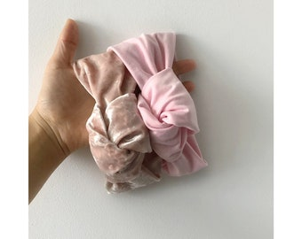 BABY PINK // Velvet topknot headbands // top knot headbands // tied knot headbands // velvet headbands // baby headbands