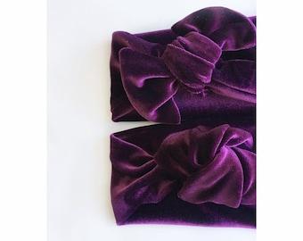 Velvet headbands GRAPE // top knot headbands // tied knot headbands // velvet headbands // baby headbands