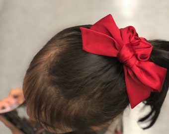 satin bow scrunchie / silky scrunchie / satin scrunchie / scrunchie / satin bow / oversized bow / silky bow / canada day bow / red bow