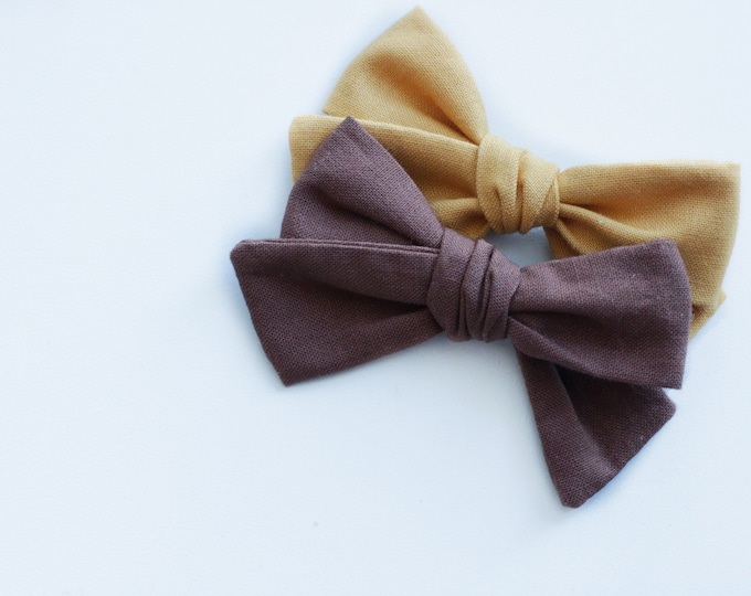 Dandelion>> solid MUSTARD YELLOW colour hair bows // mustard yellow hair bow //  fall hair bows // newborn headbands
