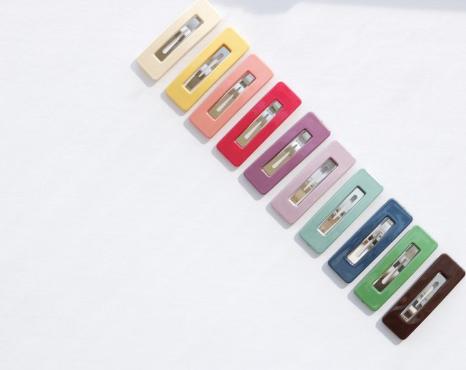 Glossy acrylic snap clips // rainbow clips // rainbow snap clips // colorful clips // solid clips // simple clips // minimalist clips