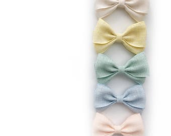 Magnolia>> pastel colors fabric bow | baby  headband | baby hair bow headband | baby girls hair bow | newborn headband | nylon baby headband