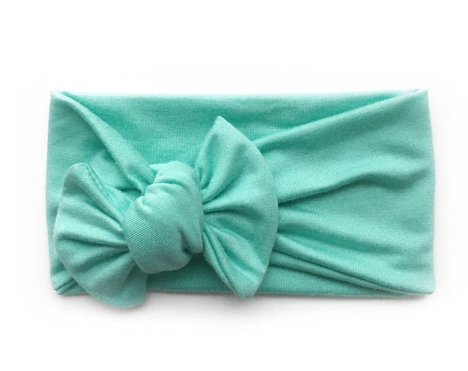 Light weight tiffany blue seafoam bamboo jersey knit top knot   mommy and me headbands   topknot headbands   baby topknots