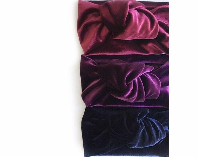 MIDNIGHT BLUE // Velvet topknot headbands // top knot headbands // tied knot headbands // velvet headbands // baby headbands