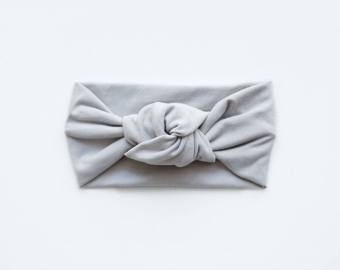 Light weight solid grey bamboo jersey knit top knot   mommy and me headbands   topknot headbands   baby topknots