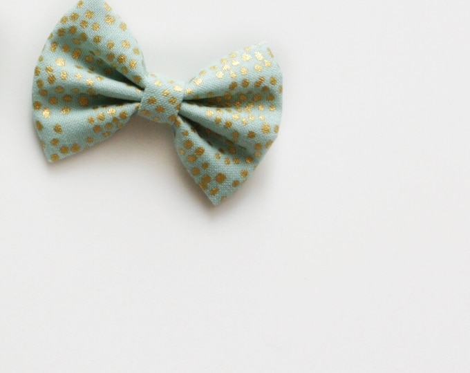 Daffodil >> MINI size // Rifle Paper Co bow // Cotton and Steel fabric bow // modern simple fabric bow // mini hair bow // newborn headbands