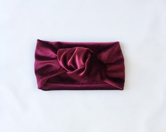 CRANBERRY // Velvet topknot headbands // top knot headbands // tied knot headbands // velvet headbands // baby headbands