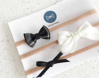 Bow set >> MINI hair bows // monochrome mini bows // simple hair bows // baby hair bow headband // baby girls bow // newborn headband