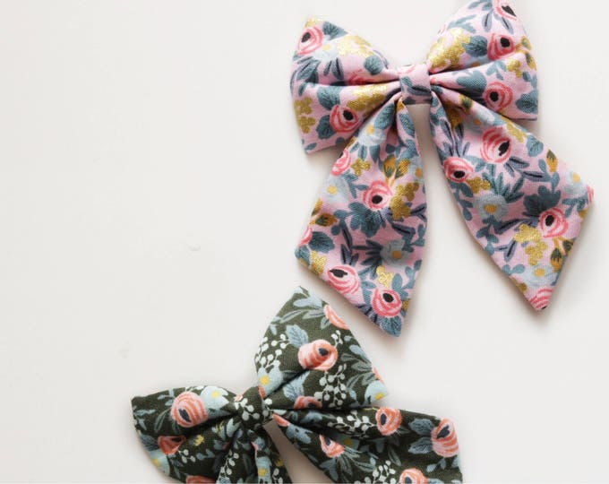 Dahlia>> Rifle Paper Co fabric bow | Cotton and Steel fabric bow | floral printed fabric bow | sailor bow | nylon headband
