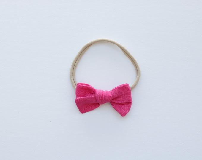 Hot pink linen hair bows // linen hair bows // pastel hair bows // pink hair bows // summer hair bows //
