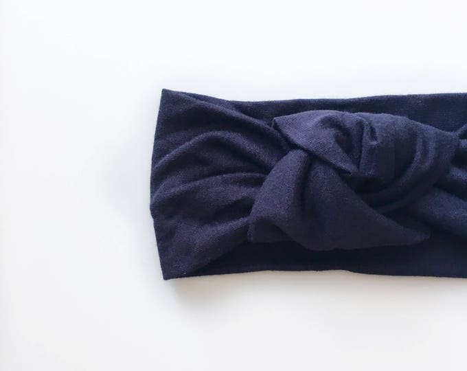 Light weight solid navy bamboo jersey knit yop knot   mommy and me headbands   topknot headbands   baby topknots