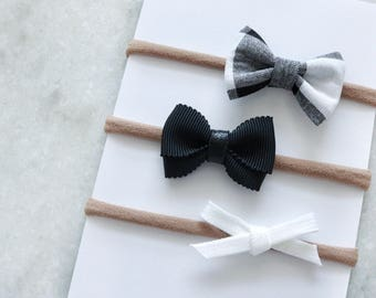 Bow set>>  MINI hair bows // monochrome mini bows // simple hair bow // baby hair bow headband // baby girls bow // newborn headband