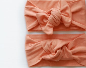 Light weight solid coral bamboo jersey knit top knot | mommy and me headbands | topknot headbands | baby topknots