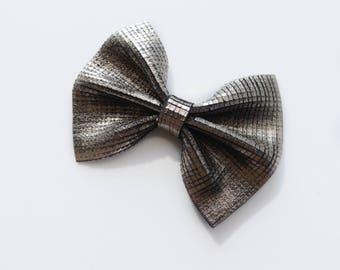 Daffodil>> genuine Italian metallic leather hair bows | layered leather | metallic leather hair bows | Halloween hair bows