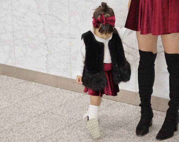 MOMMY&ME>> Velvet skater skirt // christmas // holiday outfit // family photoshoot // baby toddler skirt // mommy and me set