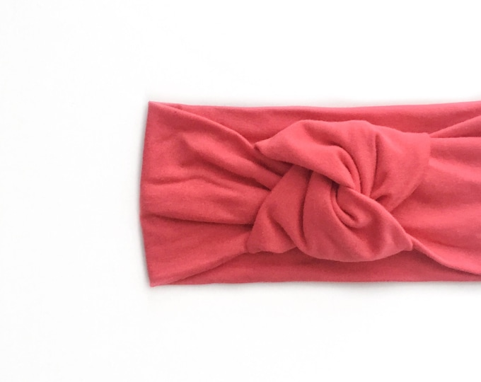 Light weight solid coral pink bamboo jersey knit top knot   mommy and me headbands   topknot headbands   baby topknots