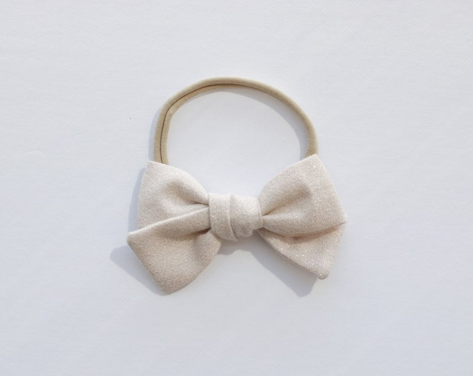 Dandelion>> CHAMPAGNE WITH SILVER // metallic linen // Linen hair bows // shimmer hair bows // school girl bows // hand tied hair bows