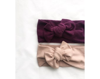 French terry deep grape purple bamboo jersey knit top knot mommy and me headbands