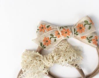 Dandelion>> Japanese vintage style hair bow // lace hair bows // dainty hair bows // boho chic hair bows // newborn headbands