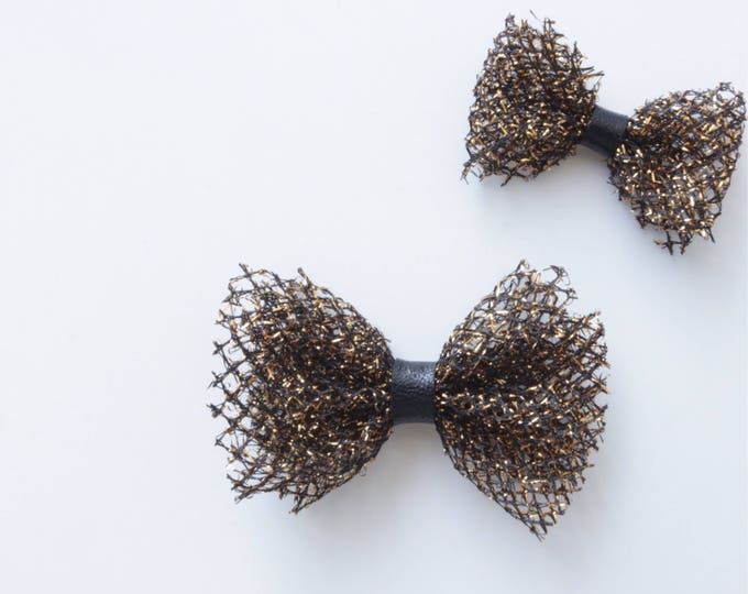 Daffodil>> black and gold mesh with black leather centre | halloween special bow | mesh hair bows | metallic hair bows