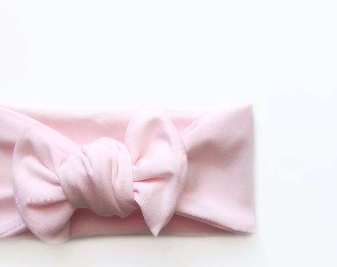 Light weight light pink bamboo jersey knit top knot   mommy and me headbands   topknot headbands   baby topknots