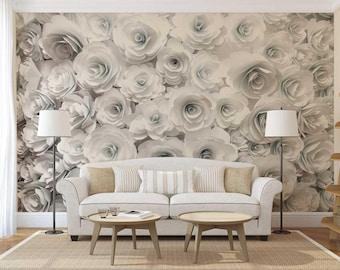 Wallpaper Floral, Wall Mural Rose, Roses Wall Decal, Wall Mural Flowers
