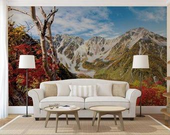Peel And Stick Mountain Wallpaper, Custom Wall Mural, Mountain Wall Decal, Wall Mural Flowers