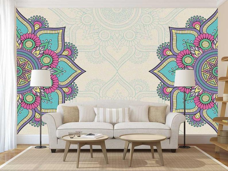 Mandala Decal, Mandala Wall Decal, Mandala Wallpaper, Mandala Wall Mural,  Bohemian Wallpaper, Boho Wallpaper, Boho Wall Mural