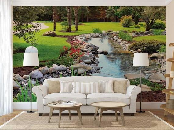 Wall Mural Of Garden River Wallpaper