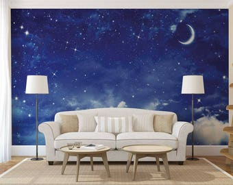 Wall Mural Night, Wall Mural Of The Sky, Stars Wall Mural, Wall Mural Moon, Wall Mural Sky