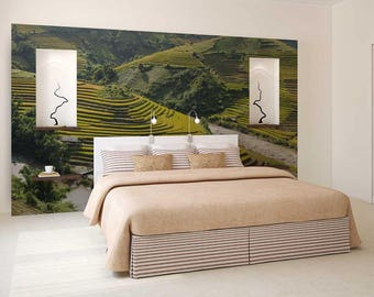 Wall Mural Stairs, Green Field Wallpaper, Stairs Wall Decal, Field Wall Mural