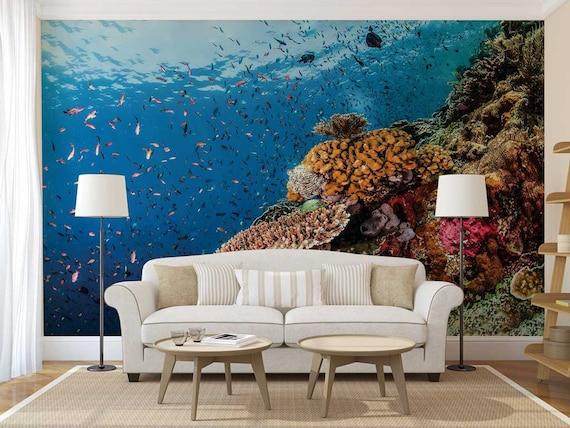 Wall Mural Underwater Aquarium Wall Decal Fishes Wall Mural Underwater Wallpaper