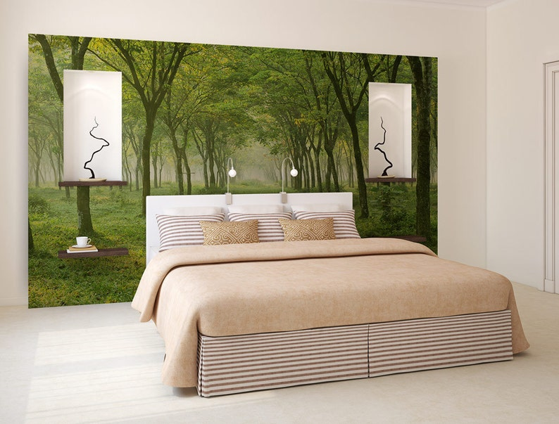 self adhesive photo mural forest wall mural tree opening wallpaper