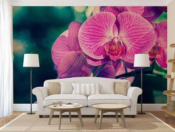 Fototapete Blumen Blumen Wandtattoo Wallpaper Orchidee Rosa Etsy