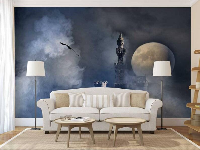 Wand Wandbild Schloss Mond Wandtattoo Tapete | Etsy