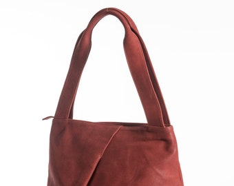 Red Leather Tote Bag, Large Tote Bag, Leather Work Purse, Classic Leather Bag, Womens Leather Purse, Daily Bag