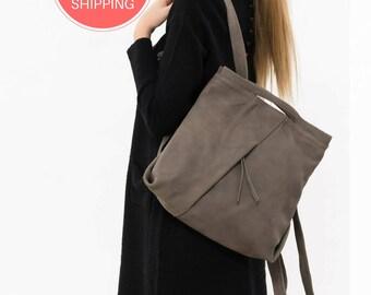 Weiches Lederrucksack, Messenger Rucksack, Lederrucksack Frauen, Frauen Leder Tasche, Leder Taupe Rucksack, Rucksack aus Leder handgefertigt