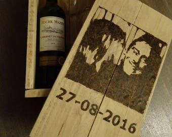 Personalized First Fight Box-Wine box-personal portrait-Wedding gift-anniversary