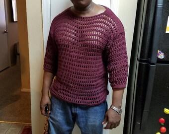 Crochet men mesh shirt