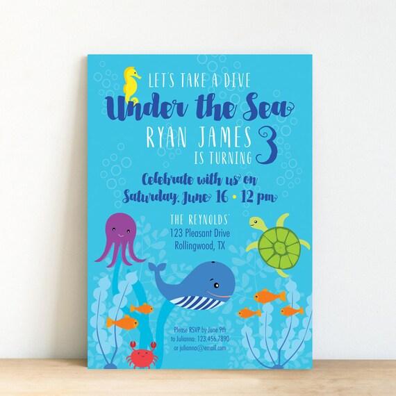 Under The Sea Invitation Printable Birthday Invitation Ocean