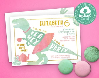 Tea Rex Invitation • Dinosaur Tea Party for Girls • Edit & Download Instantly!