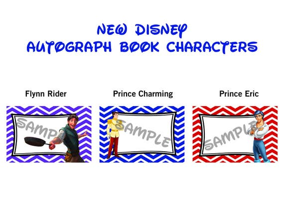 Personajes de Disney libro de autógrafos imprimibles Flynn | Etsy